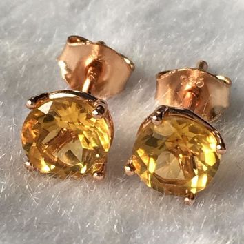 DKF4S Natural yellow citrine silver earring, round 6mm*6mm, faced stone full cutting fire, beautiful color, ladies jewelry