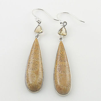 Fossilized Coral & Citrine Sterling Silver Earrings