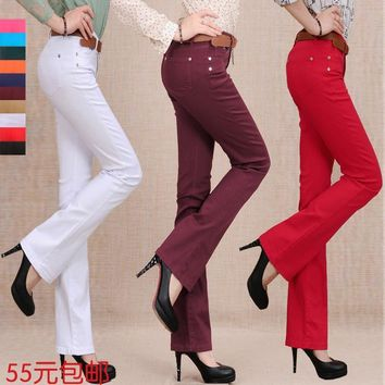 New 2017 Spring candy color flare trousers jeans female slim long boot cut trousers Wo