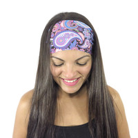 Running Headband Bohemian Headband Purple Yoga Headband Paisley No Slip Headband Wide Headband Women Hair Accessories Fitness Headband S168