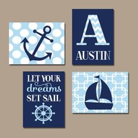 NAUTICAL Nursery Art, Boy NAUTICAL Wall Art, CANVAS or Prints, Nautical Nursery Decor, Nautical Nursery Artwork, Anchor Sailboat, Set of 4