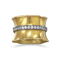 14 Karat Gold Plated Ring with CZs