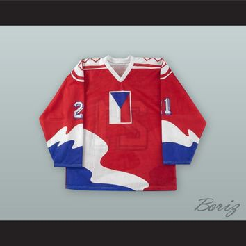 Richard Kral 21 Czechoslovakia National Team Red Hockey Jersey