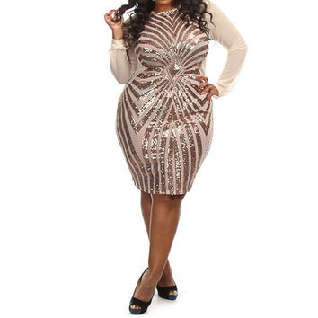 Silver Sequined Sheer Sleeve Plus Size Party Dress