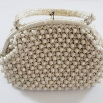 Vintage folk macrame handbag purse Straw purse with Braided handles Summer BEACHES