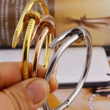 ac NOVQ2A Cartier 18k color gold jewelry ladies rose gold nail bracelet titanium steel bracelet