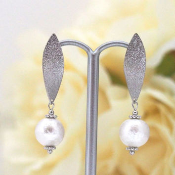 Totally Invisible Clip on Earrings: Silver tone Leaf & White Japanse Cotton Pearl Invisible Clip On Earrings, Wedding Pearl Clip-on Earrings