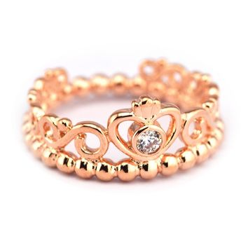 My Princess Tiara Rings with Rose Gold Color 100% 925 Sterling-Silver-Jewelry Free Shipping