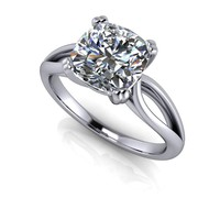 Moissanite Solitaire Engagement Ring Setting - Cushion Cut Engagement Ring