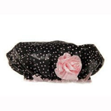 Bella Il Fiore Bath Diva Shower Cap Black with Pink Dots and a Pink Flower