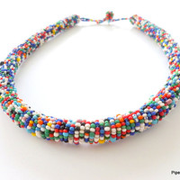 Multi-colored Crochet Beaded Rope Necklace 1960's Boho Seed Bead Jewelry