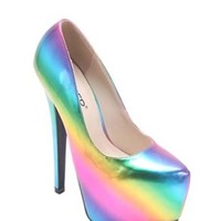 Bumper Elle 134 Rainbow Platform Pumps Heels Shoes | Glam Shoetique