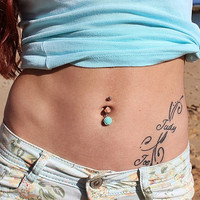 Flower Belly Button Ring - Flower Belly Ring -  Bellybutton Ring - Dangle Belly Ring - Belly Button Ring - Navel Ring - Flower Belly Button