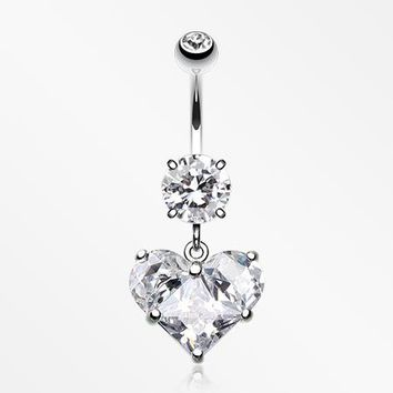 Dainty Crystalline Heart Belly Button Ring