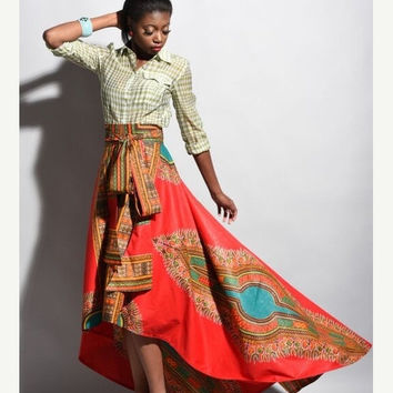 LABOUR DAY SALE New African print skirt  Red Dashiki  skirt, African clothing, African skirt Limited Quantity
