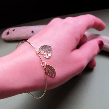 Personalized Women Bracelet / Leaf Heart Charm Gold Bangle / Gift for her
