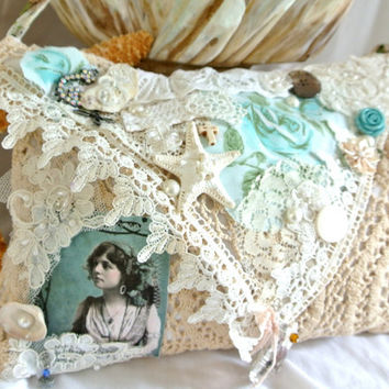 Gypsy Mermaid purse, boho envelope clutch, bohemian Mermaid beach bag, embellished handbag, shabby true rebel clothing, romantic