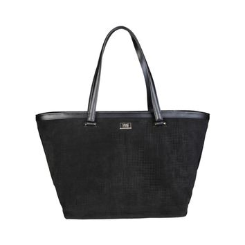 Cavalli Class Black Leather Shopping Bag