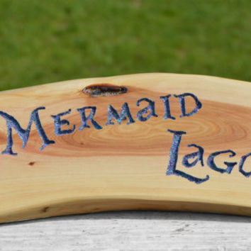 MERMAID LAGOON Hand-Carved Word Sign, Peter Pan Inspired,  by The Jolly Geppetto