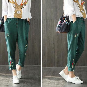 literary embroidery Front crotch single-breasted pocket Elastic waist linen casual pants  mori girl