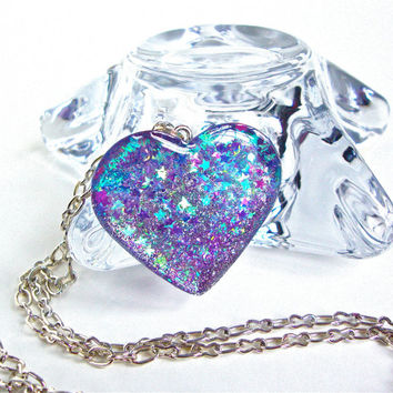 Iridescent blue and purple sparkly heart pendant - shimmery glitter resin purple heart necklace - winter accessories by Sparkle City Jewelry