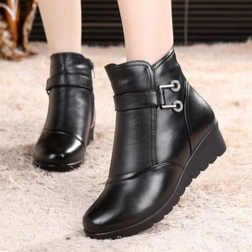 Genuine Leather Wedge Heels Ankle Boots