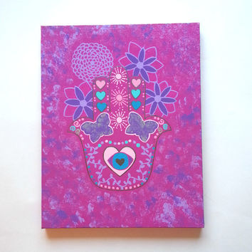 Hamsa and flowers acrylic canvas painting for trendy girls room