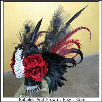 Deep Red Romance.... Feather Headband in Black and Deep Red