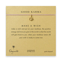 good karma lotus necklace on lavender, gold dipped - Dogeared