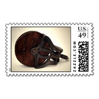 Old Wooden Farm Pully Postage Stamp