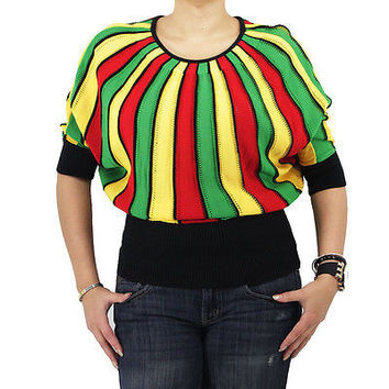 New Sexy Rasta Batwing Jamaica Reggae Party Knit Tunic Top Size S HRA7462
