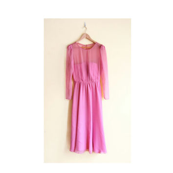 Vintage 80s Prom Dress with Sheer Sleeves - Pink Prom Dress Long Sleeve Dress 80s Party Dress
