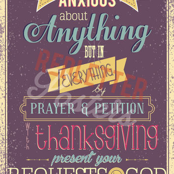 Philippians 4:6 Bible Verse Retro Vintage Typography Poster 16x20 Do not be anxious about anything but in everything by prayer and...