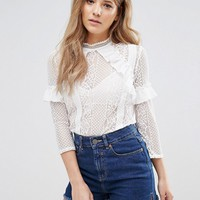 Miss Selfridge Lace Ruffle Blouse at asos.com