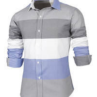 Color Block Striped Long Sleeves Shirt