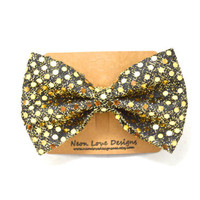 Gold Sequin Hair Bow Barrette
