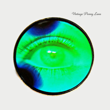 Vintage Glass Hologram Eye Brooch