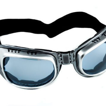 Silver Frame & Light Blue Lens Motorcycle Goggles Protective Sport Sunglasses