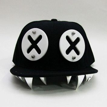 ac PEAPO2Q Punk Hip Hop Caps Devil Monster Dental Acrylic Bone Snapback Hats Rivet Baseball Cap Ockstar For Men And Women Bone Aba Reta