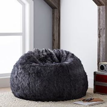 The Emily & Meritt Black Faux-Fur Beanbag