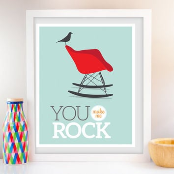 You Rock, Wall Art, Eames Poster, Modern Decor, Poster Print, Retro furniture poster, Typography, Nursery art, Eames chair, Rocking chair
