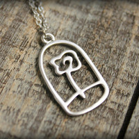 The Little Prince / Le Petit Prince / Beauty and the Beast Rose Necklace in Matte Silver