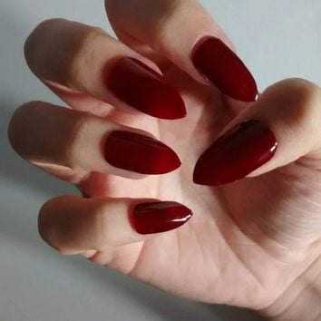 Burgundy Red Matte Or Glossy Stiletto Nails Wine Maroon False Fake