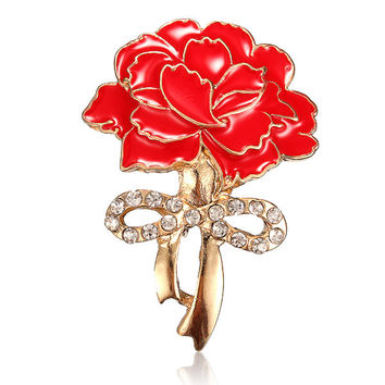 Red Enamel Carnation Flower Zircon Crystal Brooch Pin Accessories