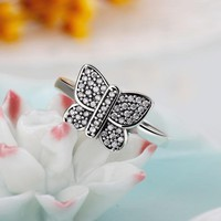 Butterfly Silver Color Pandora Ring Compatible with European AAA Zircon Jewelry Wedding Rings For Women Accessories