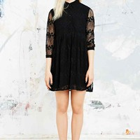 Little White Lies Floral Mesh Button Dress in Black - Urban Outfitters