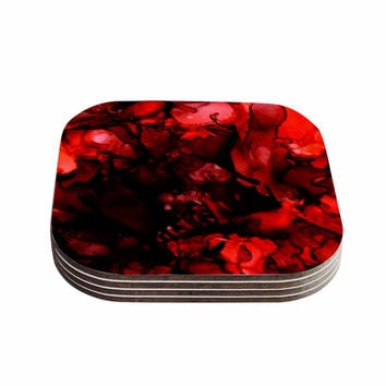 """Claire Day """"Dark Red"""" Maroon Coasters (Set of 4)"""