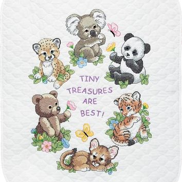 "Baby Animals Dimensions/Baby Hugs Quilt Stamped Cross Stitch Kit 34""X43"""