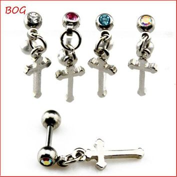 ac DCCKO2Q BOG-1 Piece Ear Cartilage Tragus Helix  Stud Ear Piercing Earring With Cross  Dangle Pendant