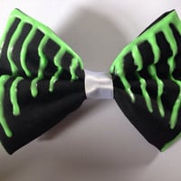 TOXIC Melting Hairbow - Glow in the Dark - Black Bow with Green Paint. Gothic, goth, emo, punk, creepy cute